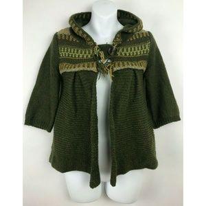 Free People Wool Blend Knitted Green Jacket sz XS